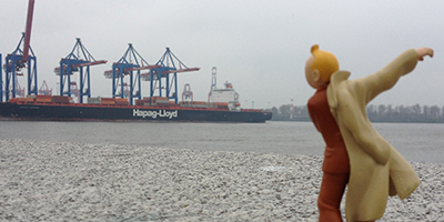 Kunstprojekte: Fotoblog - Tin Tin around the world - Hamburg Hafen